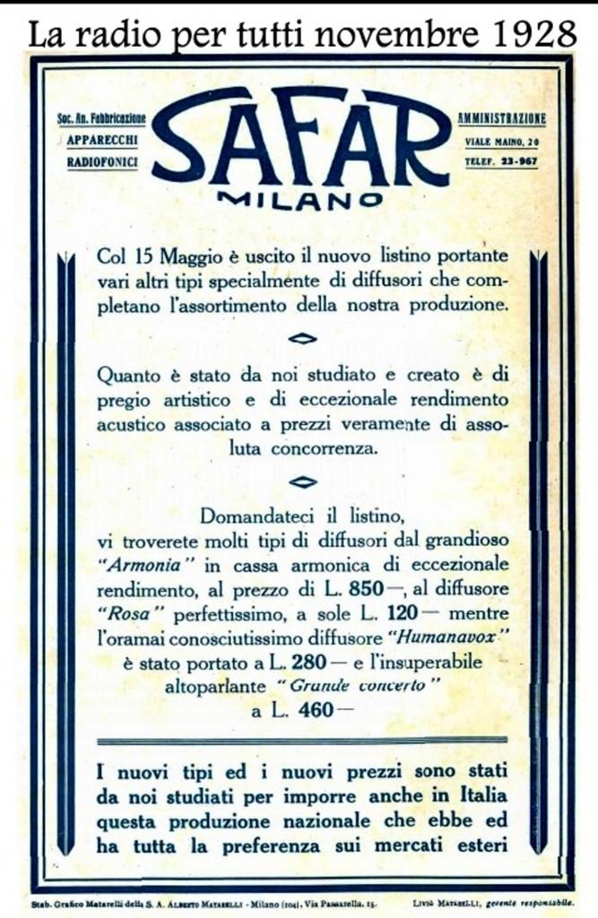 49 Safar radio per tutti novembre 1928