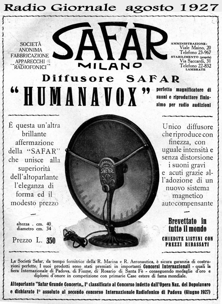 80 Safar humanavox radio giornale 08 1927