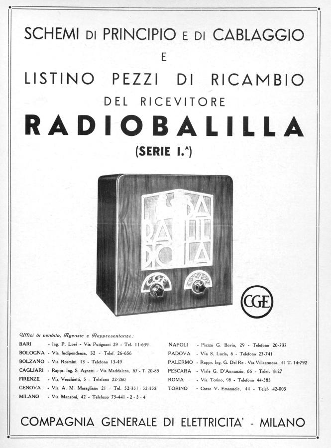 SCHEMA RADIO BALILLA CGE