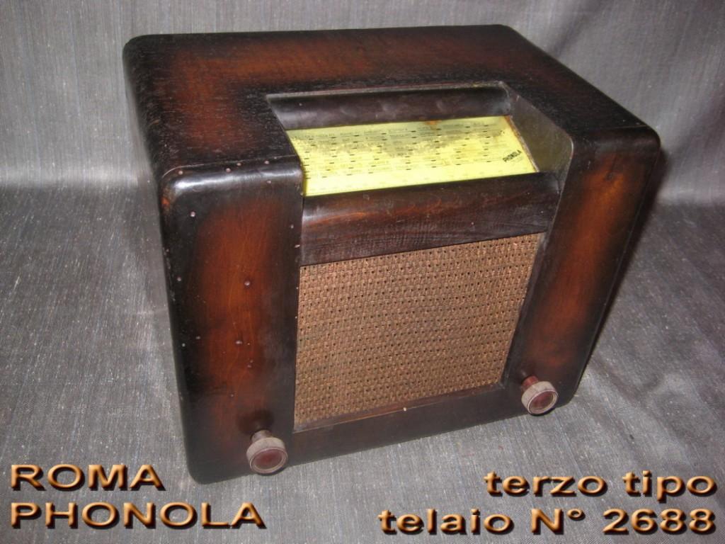 RADIO ROMA PHONOLA 3° serie mod 301/2 TELAIO 2688 valvole europee