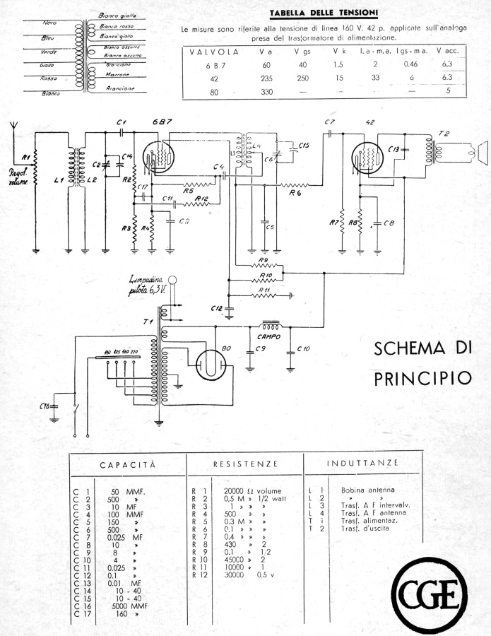 schema elettrico radio balilla cge prima serie