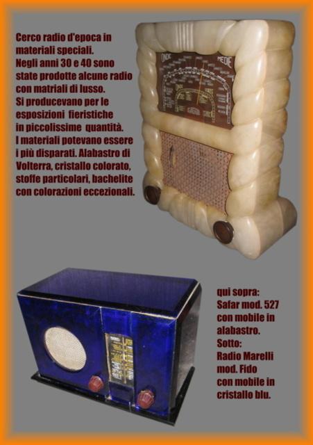 25 cerco radio in materiali speciali  alabastro vetro marmo ecc