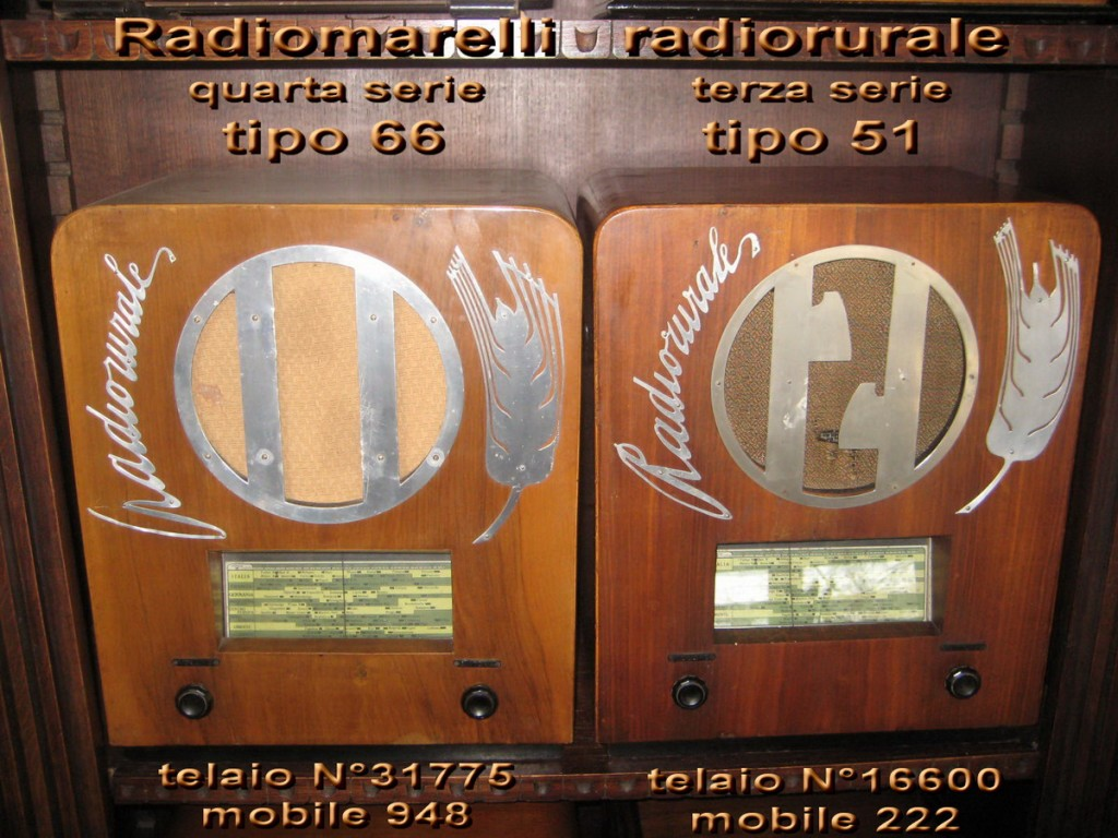 Marelli Radio Rurale 4° serie TIPO 66 telaio 31775 mobile 948