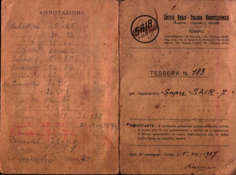 Radio Sair Torino anni 20 52