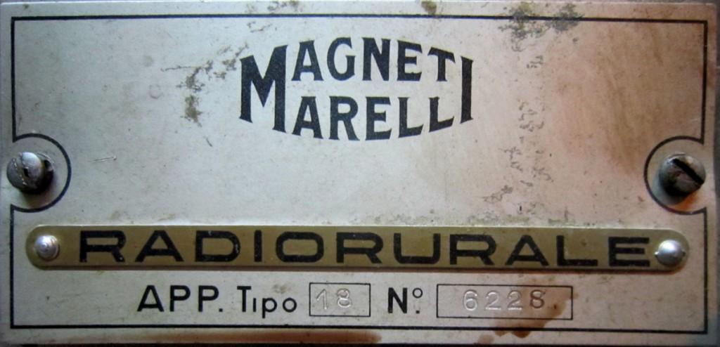 Marelli Radio Rurale 2° serie  TIPO 18 Telaio 6228  mobile 48