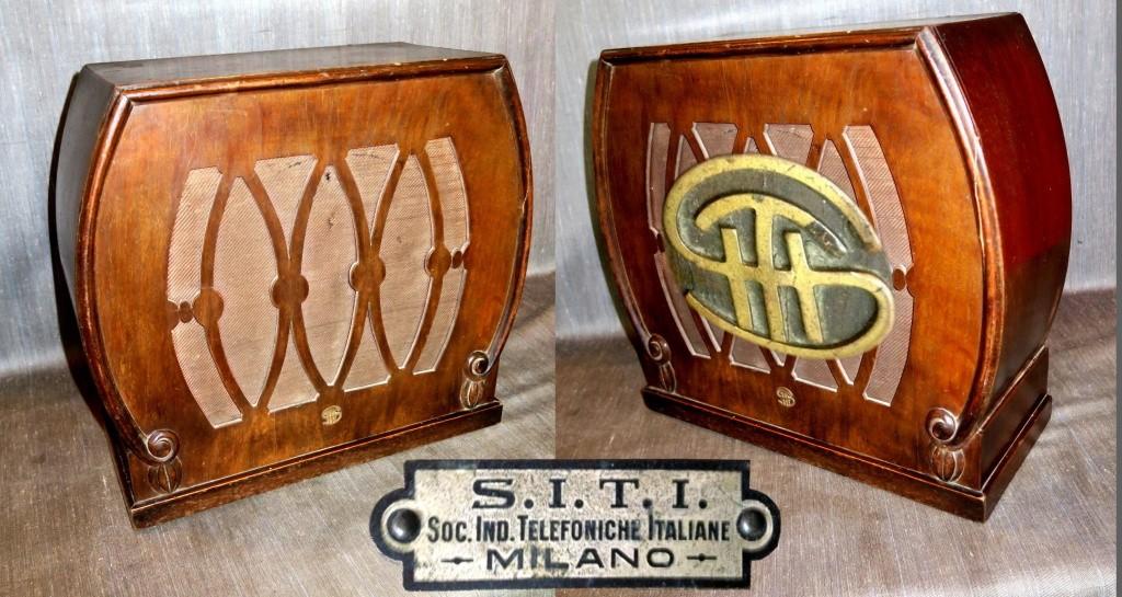 SITI Altoparlante 1383. Società Industrie Telefoniche Italiane anni 20 legno traforato S.I.T.I.
