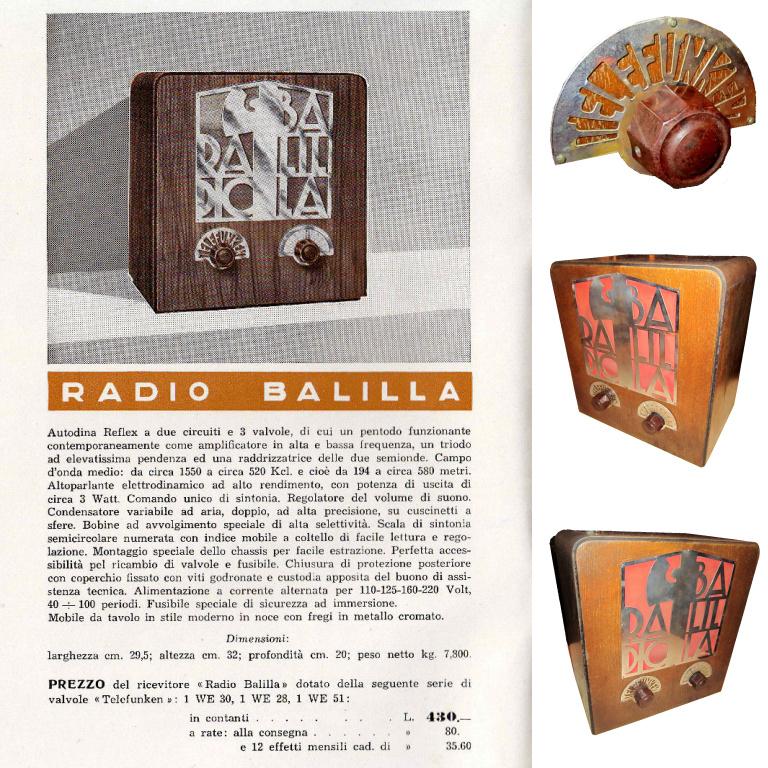 RADIO BALILLA TELFUNKEN pubblicita catalogo