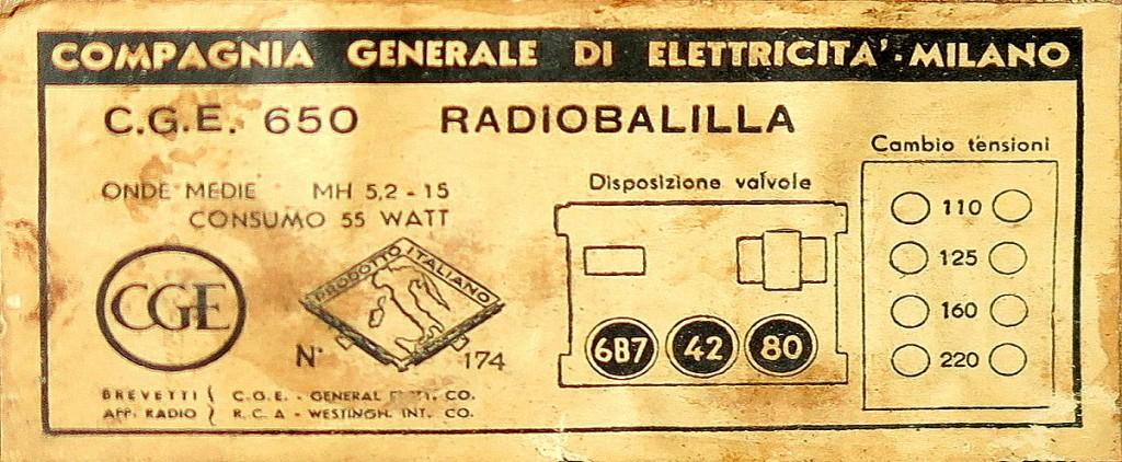 RADIO BALILLA CGE prima serie 31