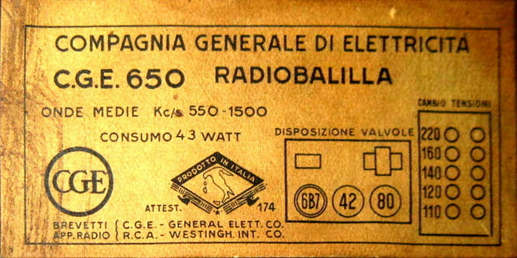 RADIO BALILLA CGE seconda serie 26