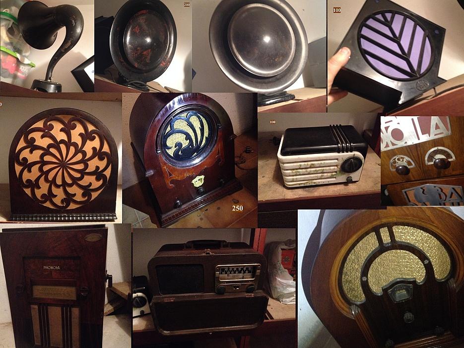 Da una collezione del Piemonte radio d'epoca e altoparlanti anni 20