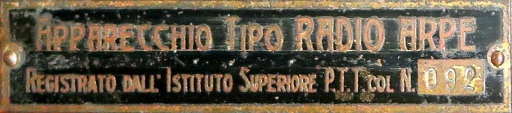 RADIO ARPE ARTURO PEREGO ANNI 20 12