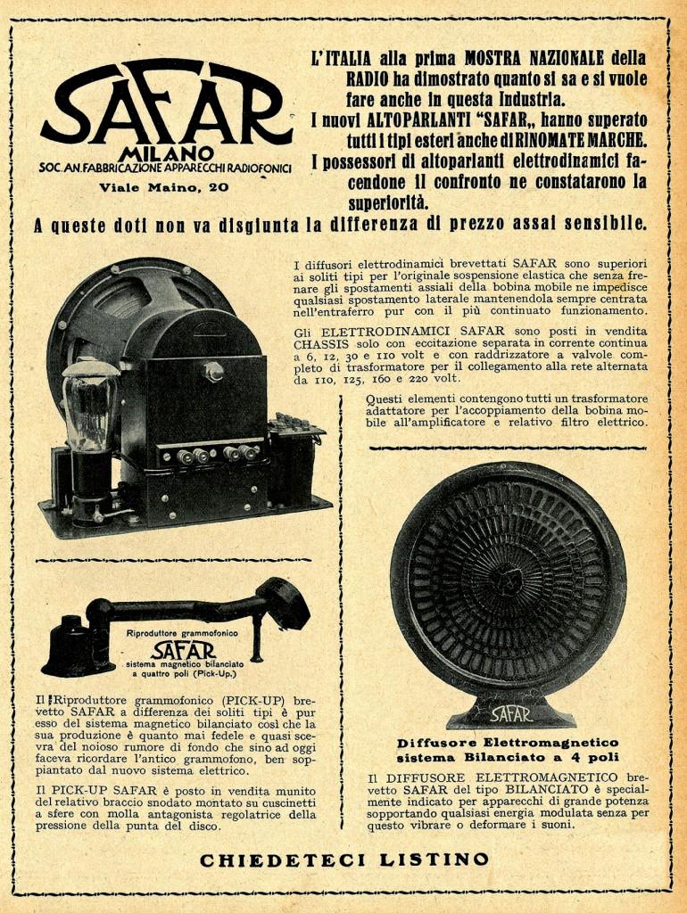 altoparlante safar magnetico 1929