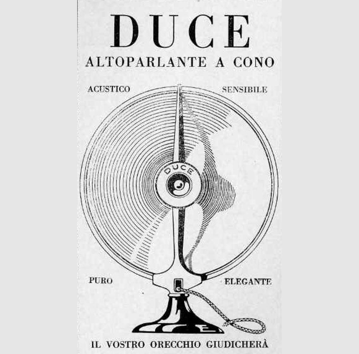 Altoparlante Duce, anni 20, realizzato in onore al Benito Mussolini